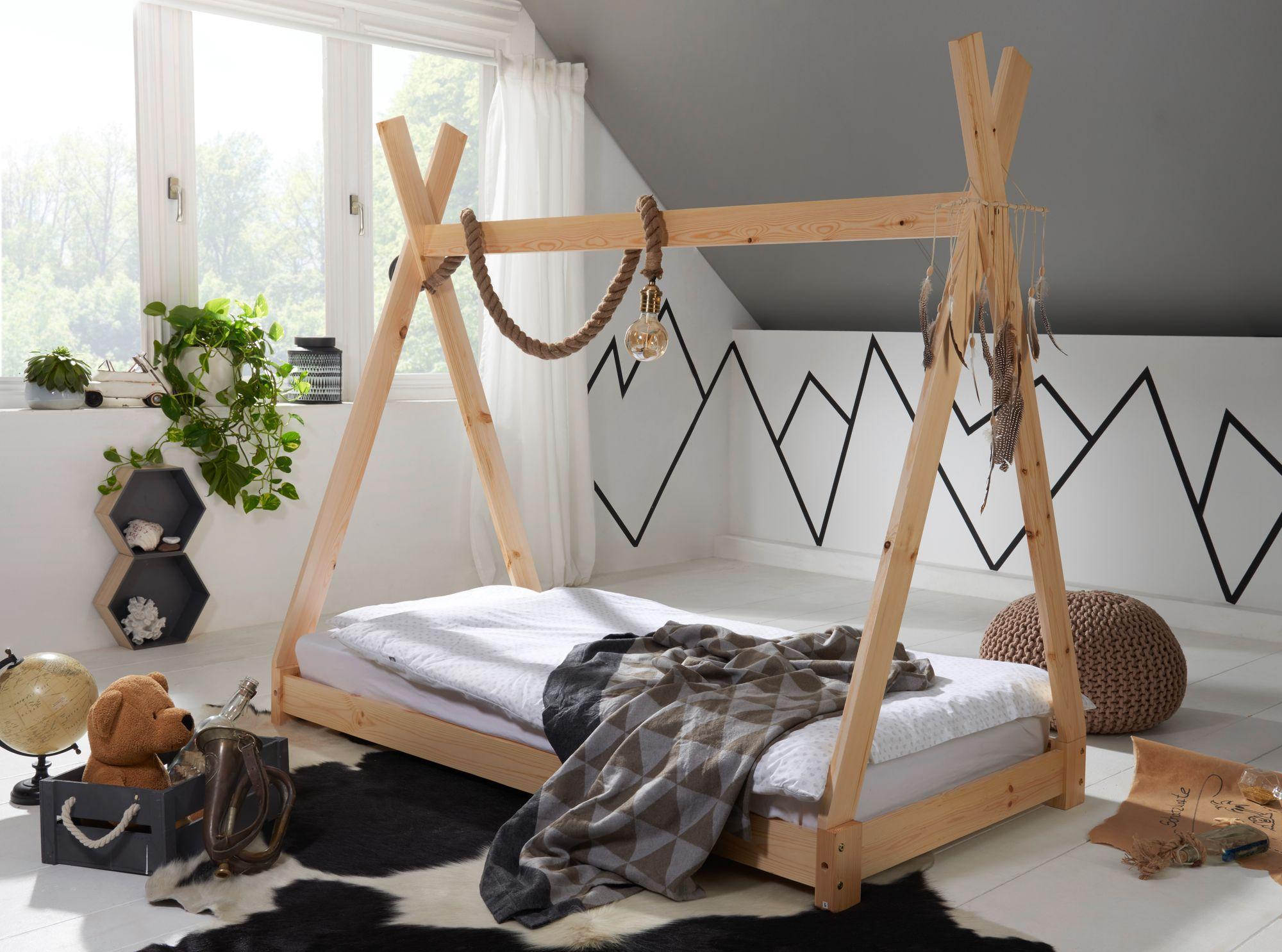 FineBuy Kinderbett 140x70 cm Kiefer Tipi Bett für Kinder Spiel-Holzbett  Natur
