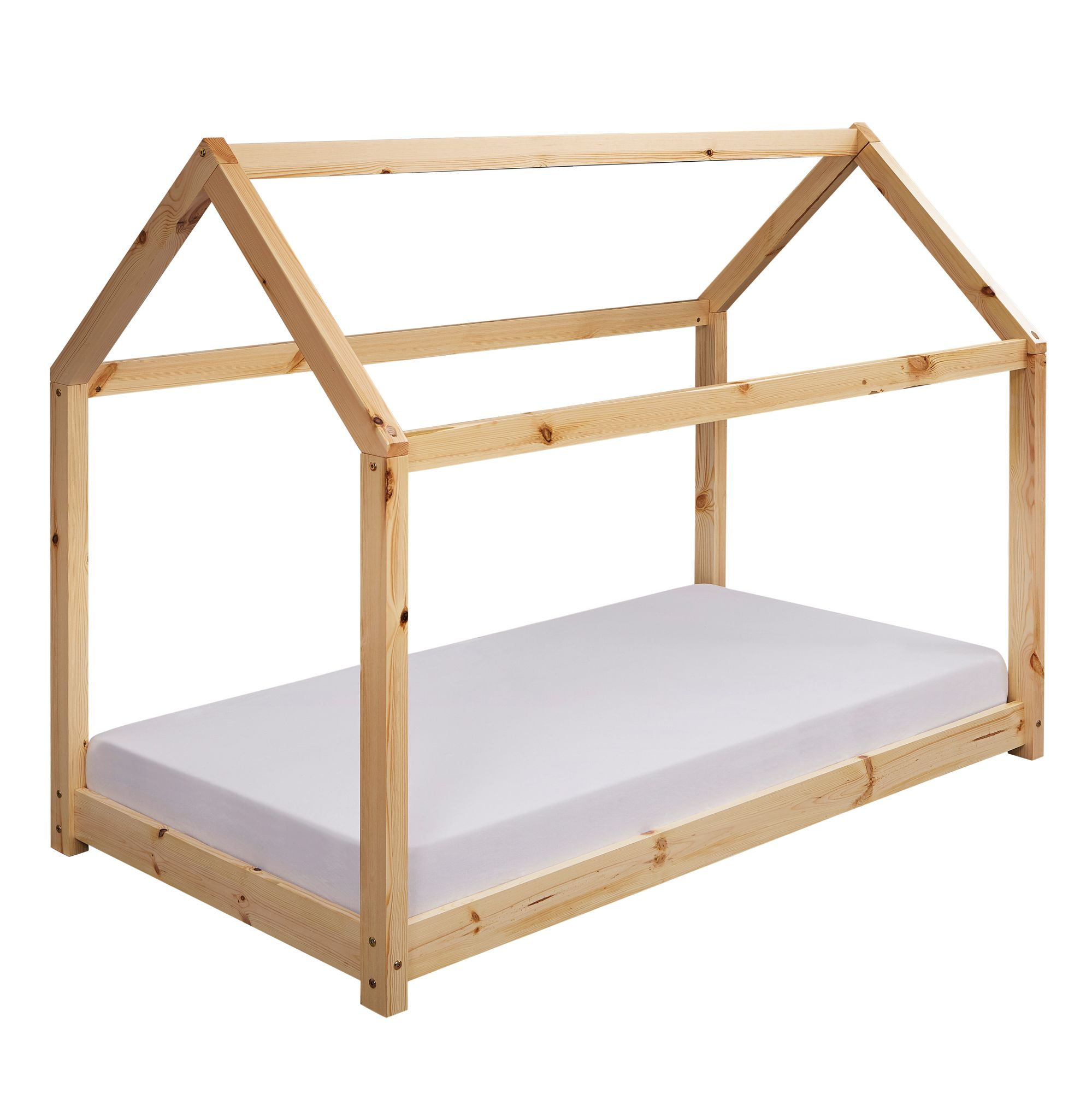 FineBuy Kinderbett Haus Kiefer Holz Bett Kinder Schlafbett Hausbett  Lattenrost