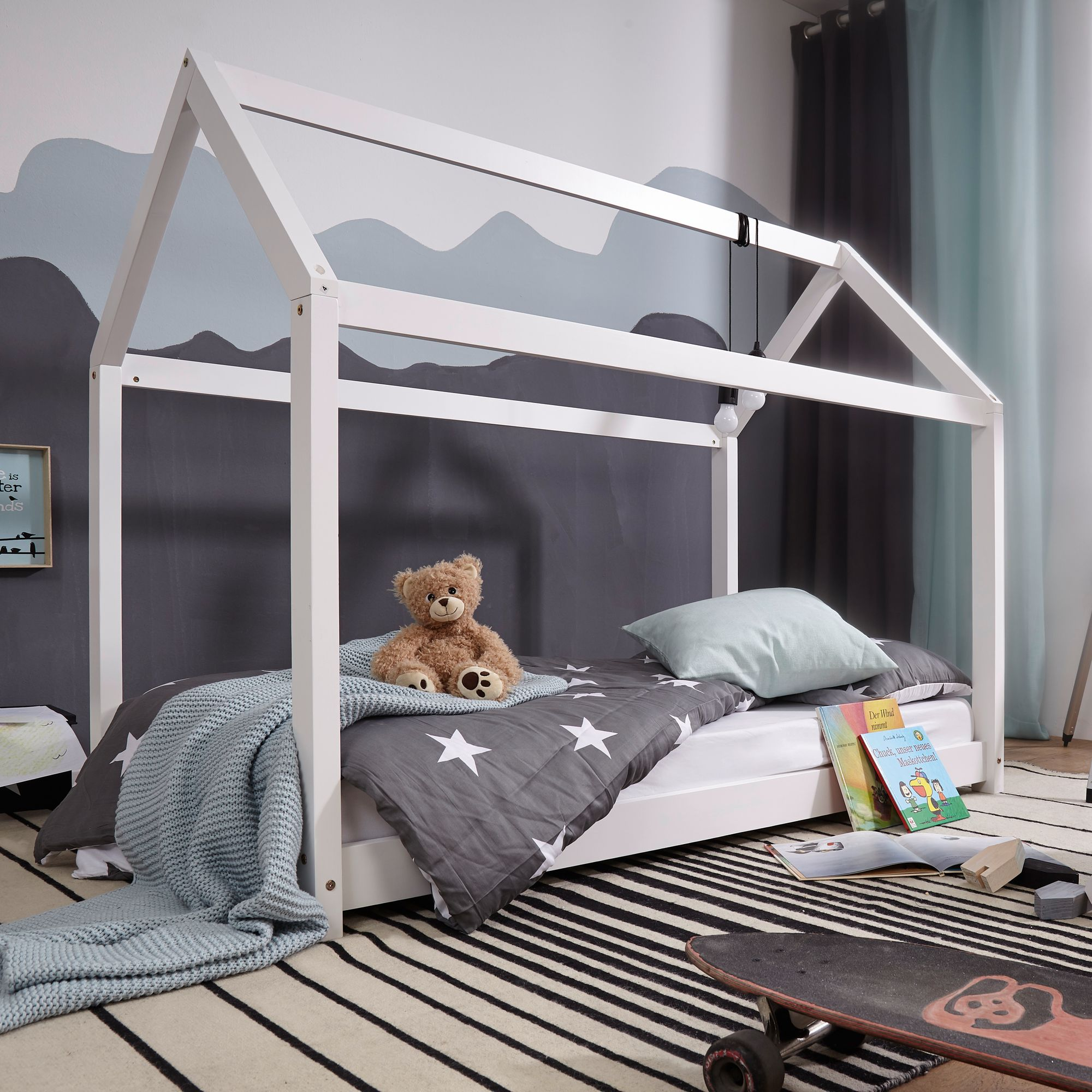 FineBuy Kinderbett Haus Weiß Holz Bett Kinder Schlafbett Hausbett Lattenrost