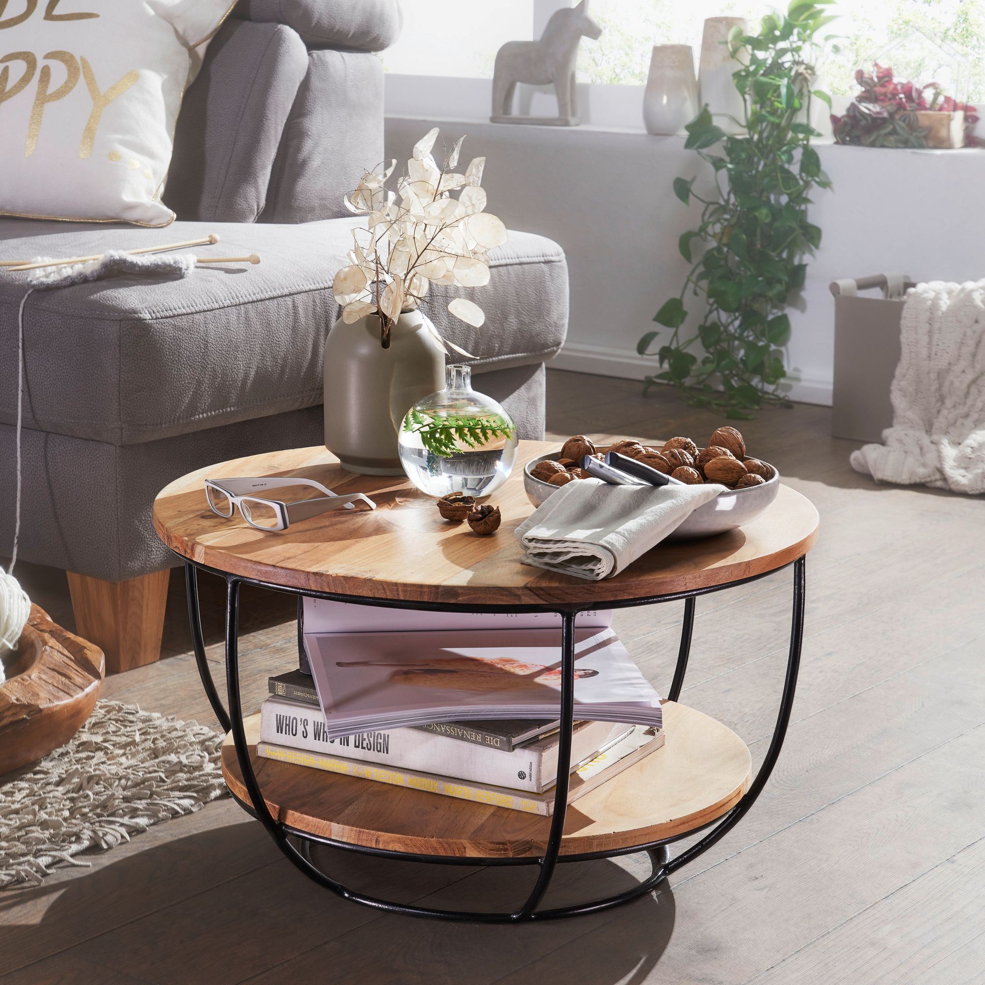FineBuy Couchtisch 60x34,5x60 cm Akazie Massivholz Metall Sofatisch | Design Wohnzimmertisch Rund | Stubentisch Industrial Braun | Tisch mit Ablage