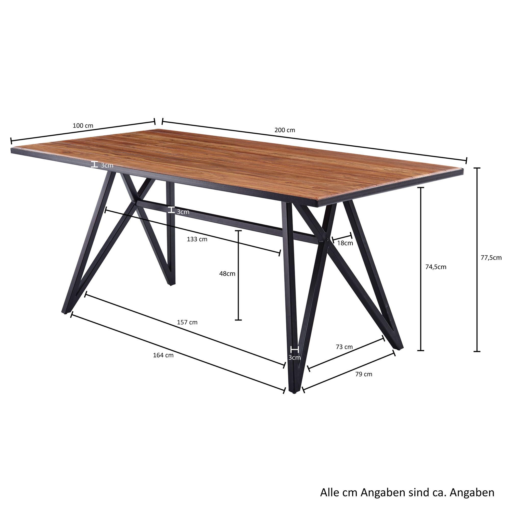 FineBuy Esstisch Sheesham Massivholz / Metall Esszimmertisch  Küchentisch  Loft Massiv  Holztisch mit Metallgestell Schwarz