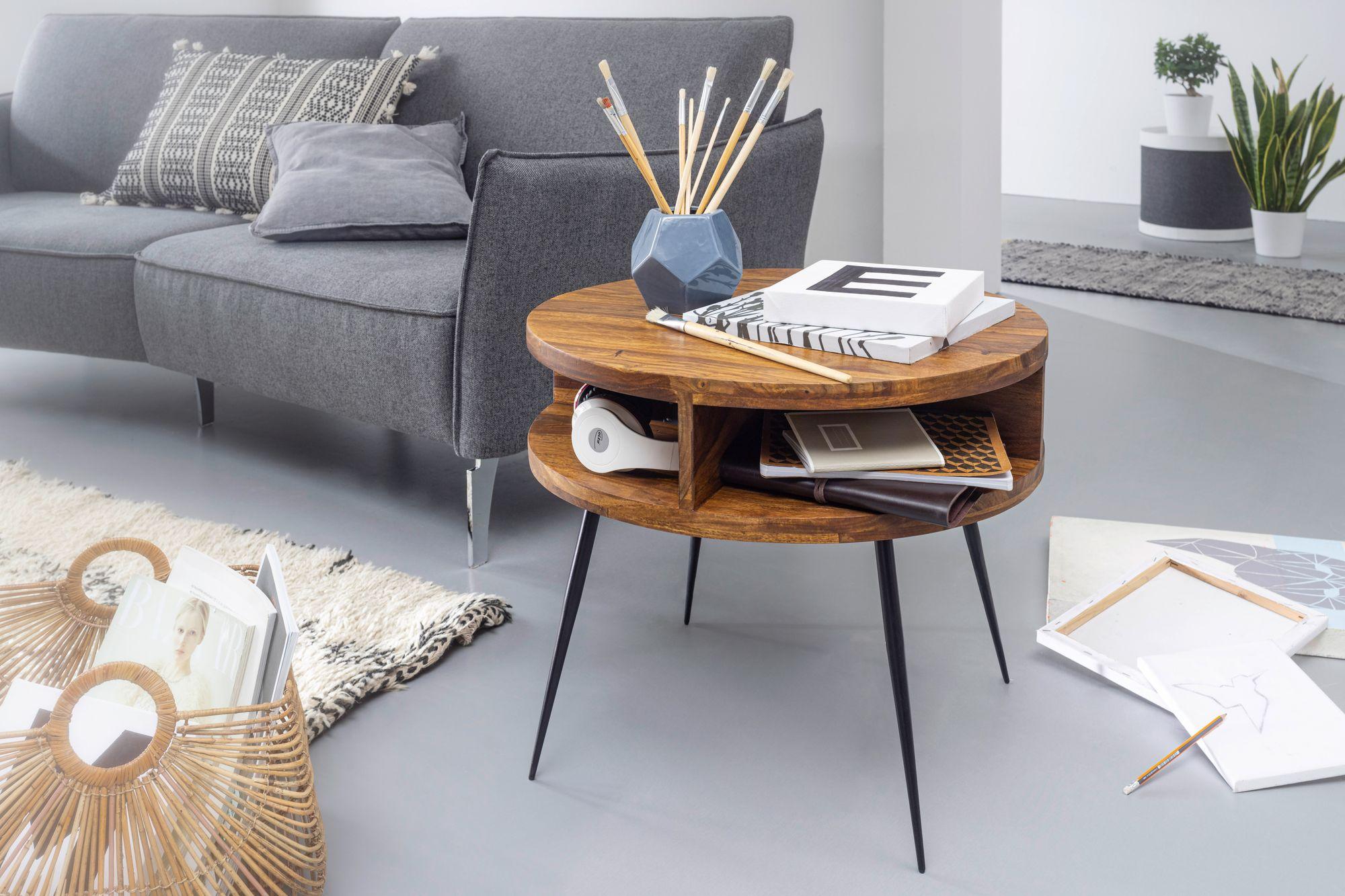 FineBuy Couchtisch Sheesham Massivholz / Metall 20x20x20 cm Tisch  Wohnzimmer  Design Beistelltisch mit Ablage  Kleiner Wohnzimmertisch Rund  Braun