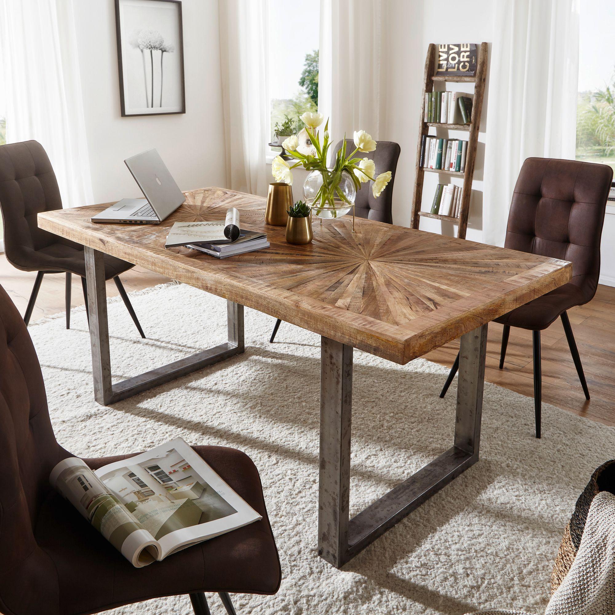 Details zu FineBuy Esstisch Natur Küchentisch Holz Esszimmertisch Massiv  Industrial Tisch