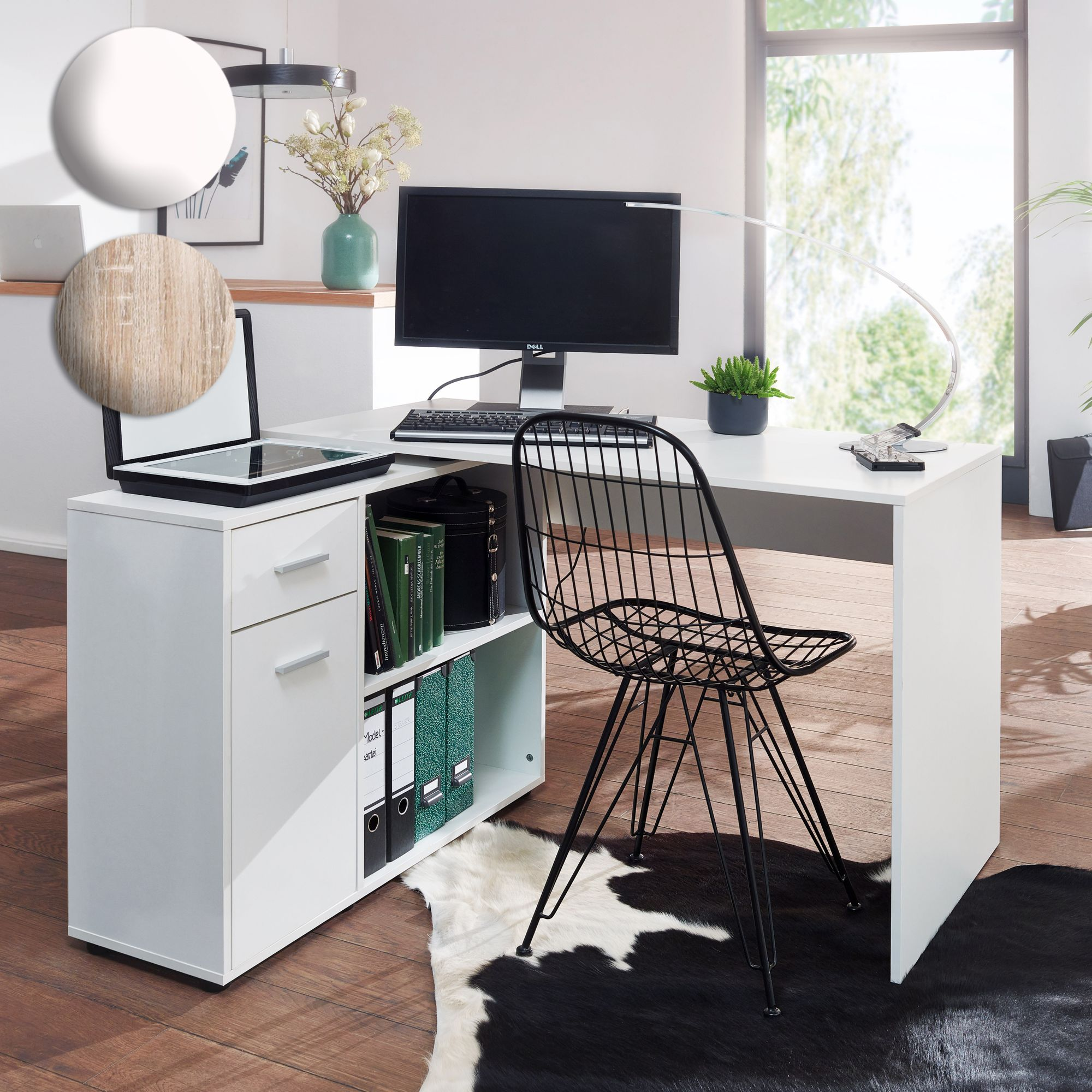 Schreibtisch Computer Eckschreibtisch Bürotisch Regal Winkel PC Tisch Sonoma