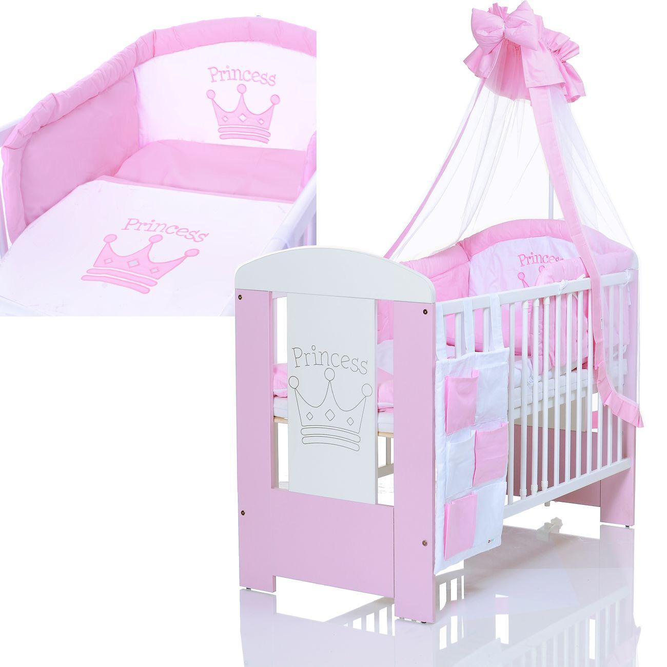 Baby Kinderbett Prinzessin 120x60 Holz Bettwäsche Komplett Set 9