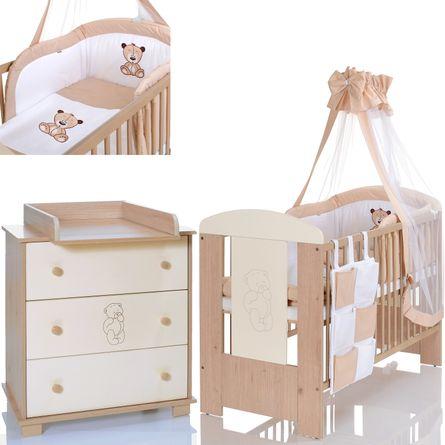 BÄR CREME Baby Komplettzimmer 120x60 Bett Wickelkommode Bettwäsche Set