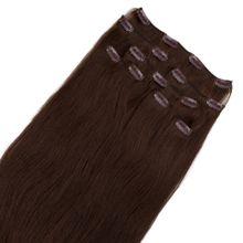 Clip In Extensions Deluxe - Virgin Remy Echthaar 40 cm Farb: #3 schokobraun