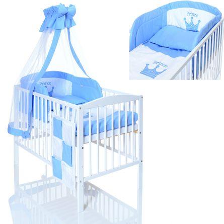 Kinderbett 120x60 weiss + PRINCE Bettwäsche Set 9 teilig