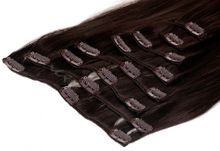 Clip In Extensions 8 Haarteile 60 cm Farbe: dunkelbraun