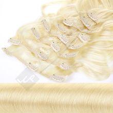 Clip In Extensions 8 Haarteile 55 cm Gewellt Farbe: hellblond
