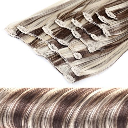 Clip In Extensions Set 60 cm lang - glatt - #6/613 braun-blond