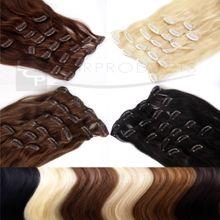 Clip In Extensions Echthaar XXL Set 50 cm Haarlänge Farbe: Honigblond