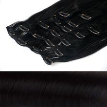 Clip In Extensions Echthaar XXL Set 50 cm Haarlänge Farbe: Schwarz