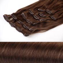 Clip In Extensions Echthaar XXL Set 50 cm Haarlänge Farbe: Hellbraun