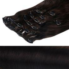 Clip In Extensions XXL Echthaar Set 60 cm Haarlänge Farbe: Dunkelbraun