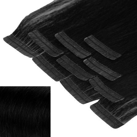 Tape In Extensions 40 cm Virgin Echthaar - höchste Qualität Farb: Mix #2/#60 dunkelbraun/platinblond