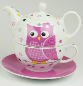 Tea-for-one-Set Eule pink