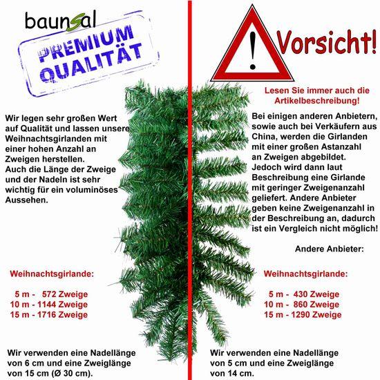 Baunsal GmbH /& Co.KG Weihnachtsgirlande Tannengirlande Girlande gr/ün 10 m