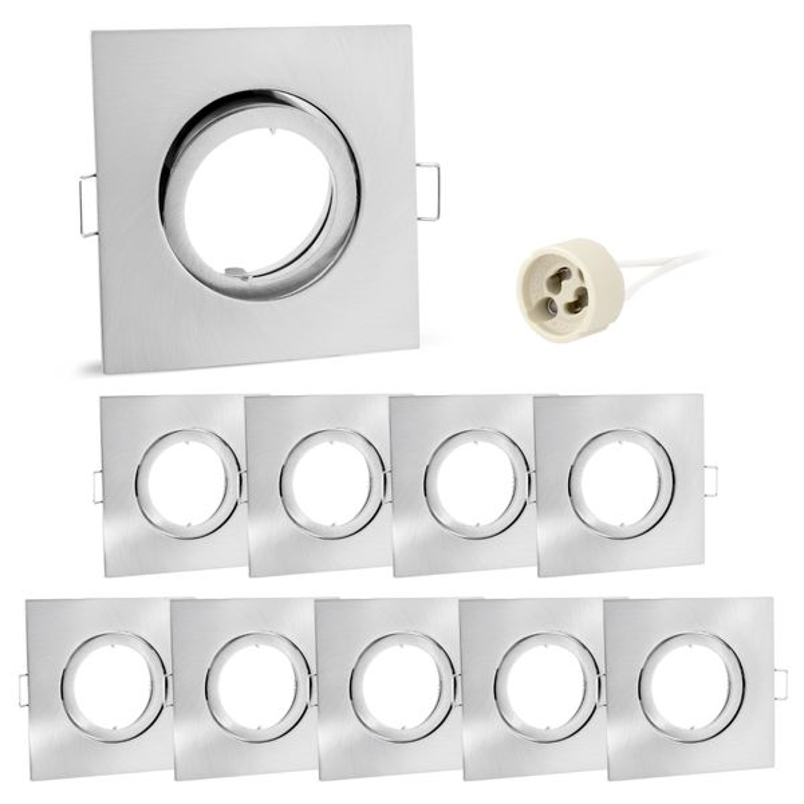 10 Stück Einbaustrahler Rahmen Einbaurahmen Edelstahl Optik eckig schwenkbar GU10