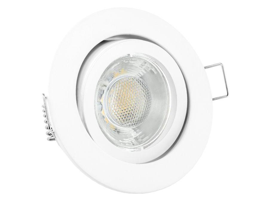 LED Einbaustrahler warmweiß GU10 6W 230V - Weiß rund schwenkbar
