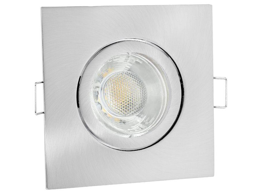 LED Einbaustrahler warmweiß GU10 6W 230V - Edelstahl Optik eckig schwenkbar