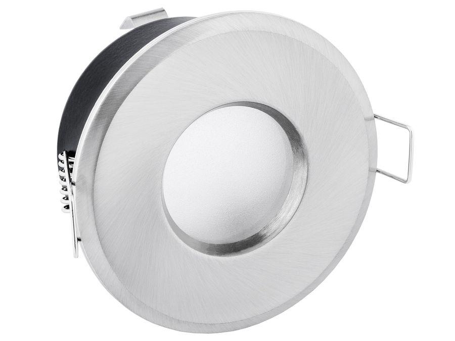 LED Einbaustrahler IP65 warmweiß GU10 6W 230V - Edelstahl Optik rund starr