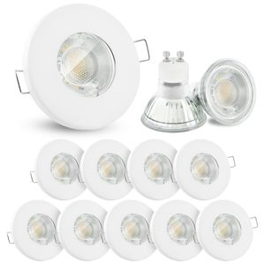 10 Stück LED Einbaustrahler IP65 warmweiß GU10 6W 230V - Weiß rund starr flach 001