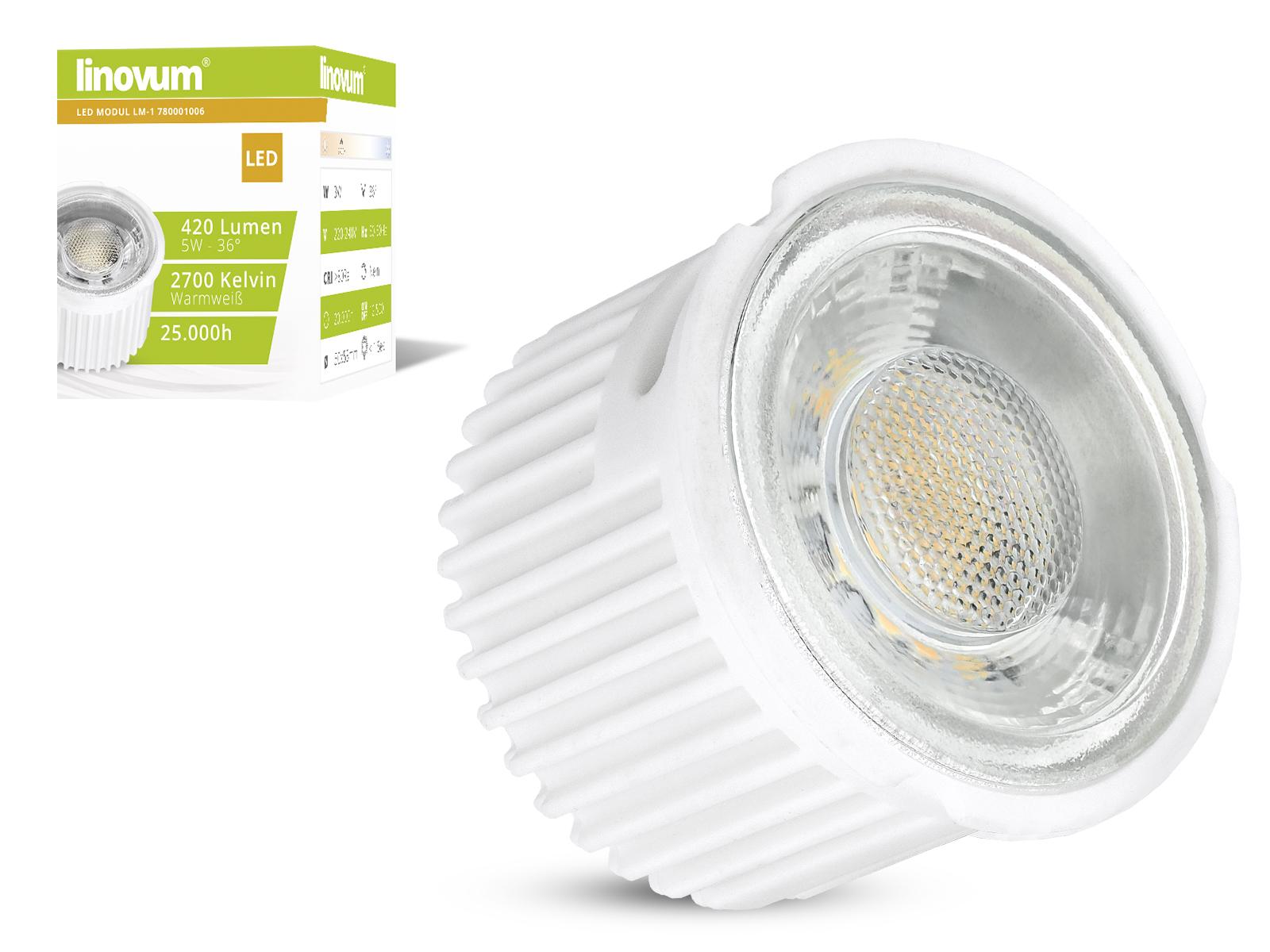 linovum 5w led mcob modul f r 230v 2700k warm wei 420 lumen ebay. Black Bedroom Furniture Sets. Home Design Ideas