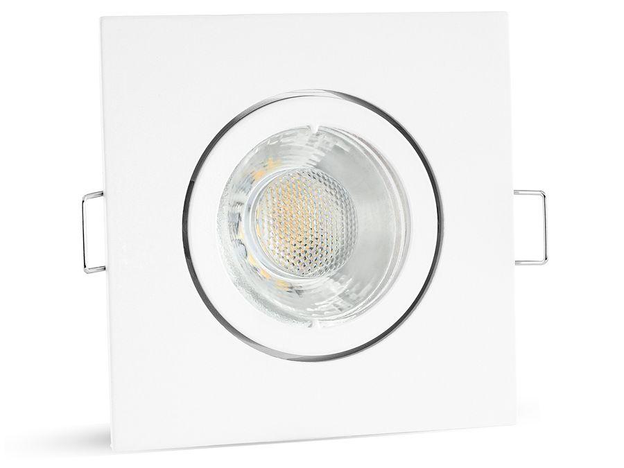 LED Einbaustrahler warmweiß GU10 6W 230V - weiß eckig schwenkbar