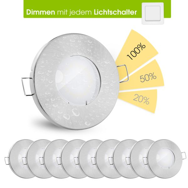 10 Stuck Fourstep Led Einbauspots Bad Dimmen Ohne Dimmer Gu10 5w Warmweiss 230v Alu Ip65 Linovum