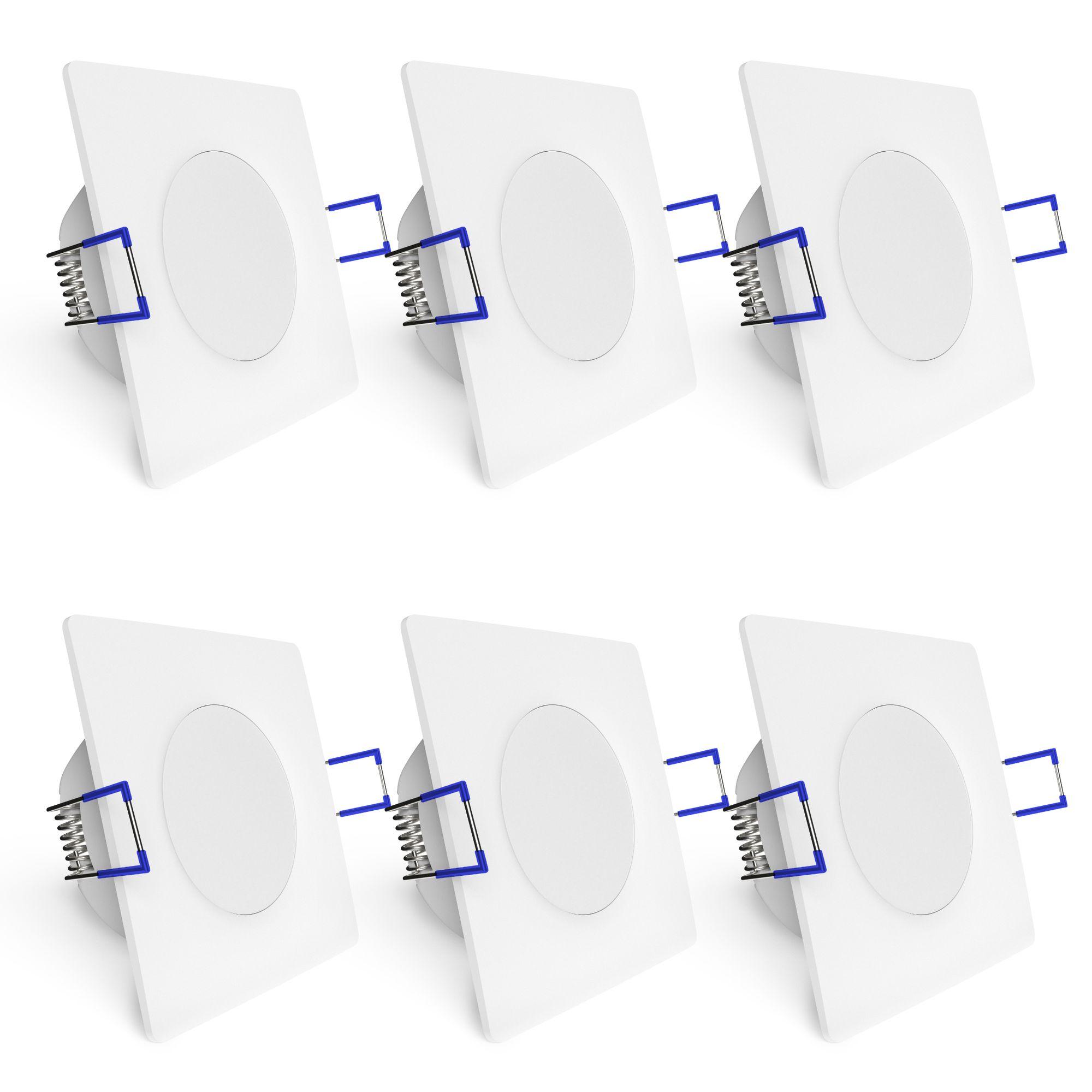 linovum ETAWA LED Einbaustrahler IP44 extra flach 35mm mit 5W LED warmwei/ß 230V Einbauspot Bad au/ßen wei/ß rund 230V