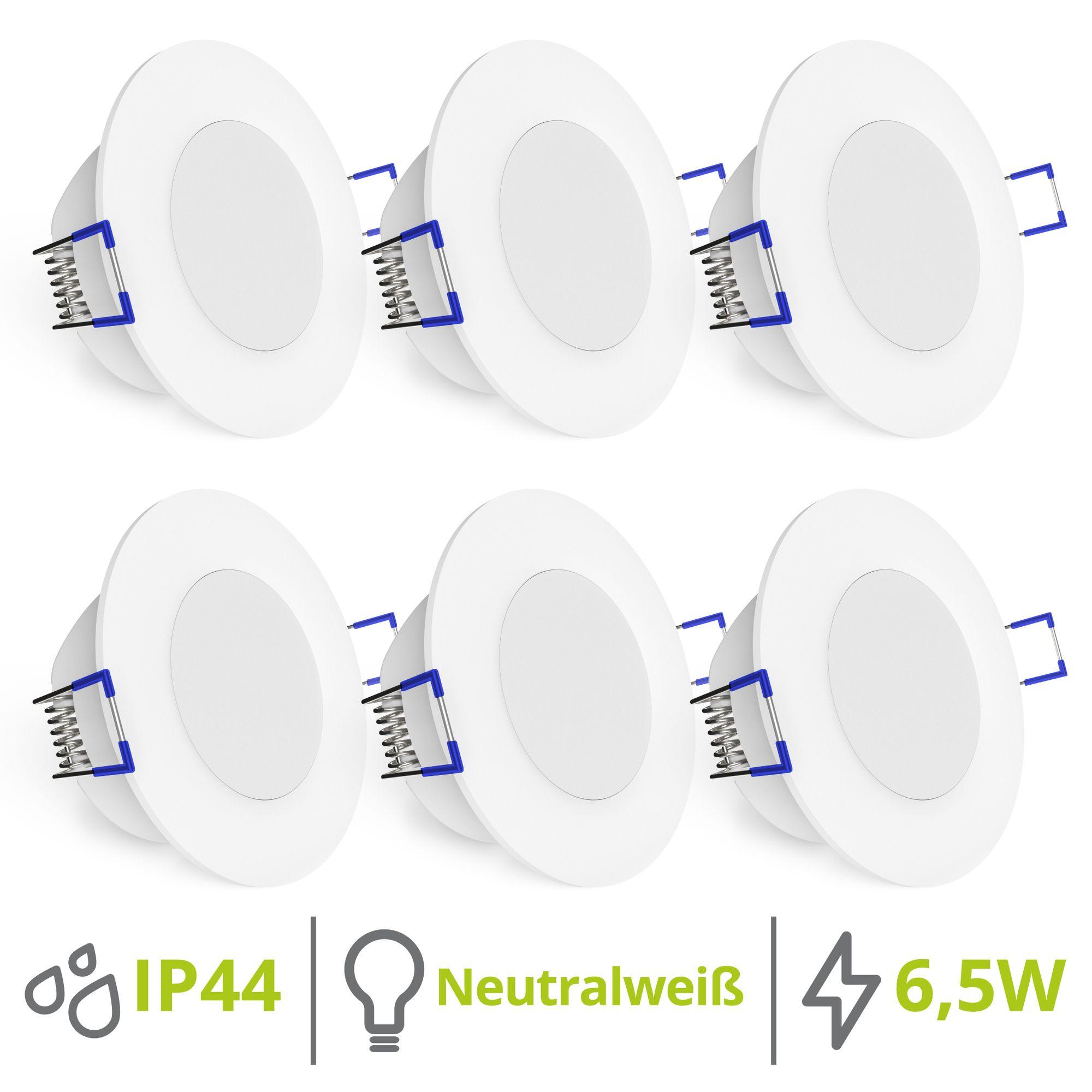 6er Set flache WEEVO LED Einbauleuchten Spots 4000K 6,5W 230V Bad & Außen  IP44