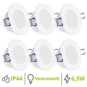 6er WEEVO Set flache LED Einbaustrahler IP44 Spot Modul rund 4000K 6,5W für Bad & Außen 001