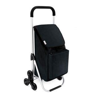 LONARI Einkaufstrolley mit Treppensteiger in schwarz Einkaufswagen Trolley Einkaufshilfe 001