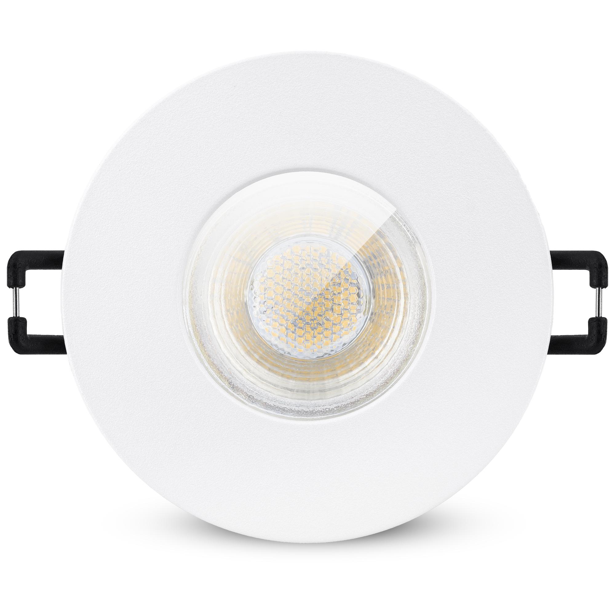 LED Bad Einbauleuchte IP20 matt weiß GU20 20W neutralweiß 20V ...