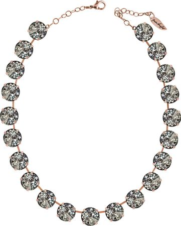Classical Necklace with 14mm Swarovski Crystals, silver plated, plain colored – Bild 2