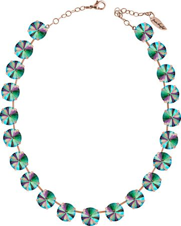 Classical Necklace with 14mm Swarovski Crystals, silver plated, plain colored – Bild 6