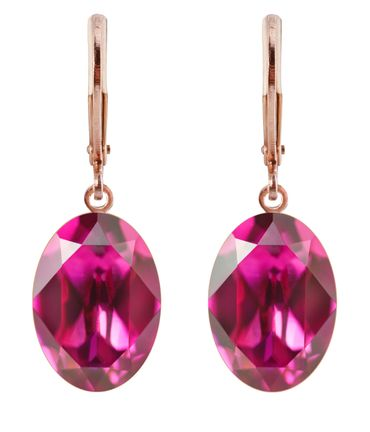 Ohrhänger Oval Ecliptic mit Swarovski® Kristall 14x10 rosé vergoldet – Bild 8