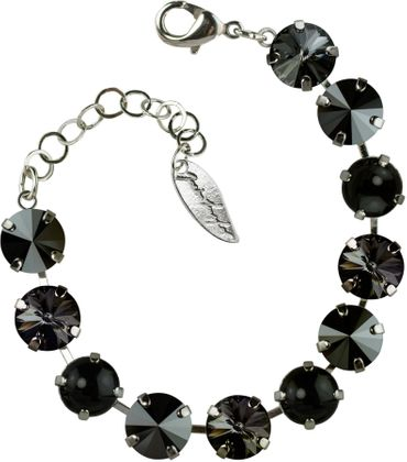 Bracelet with 12mm Swarovski Rivali crystal, mixed colors, silver plated – Bild 1
