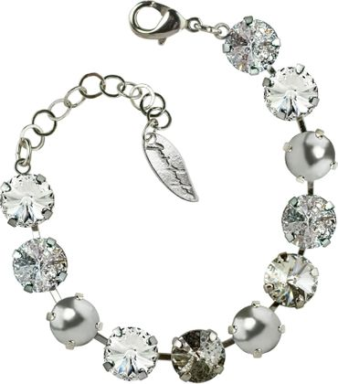 Bracelet with 12mm Swarovski Rivali crystal, mixed colors, silver plated – Bild 3