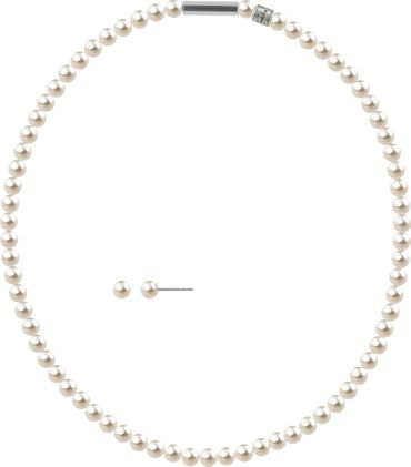 2er Schmuckset Perlenkette und Ohrstecker 6mm mit original Swarovski ® Perlen – Bild 22