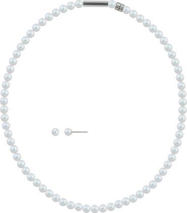 2er Schmuckset Perlenkette und Ohrstecker 6mm mit original Swarovski ® Perlen – Bild 1