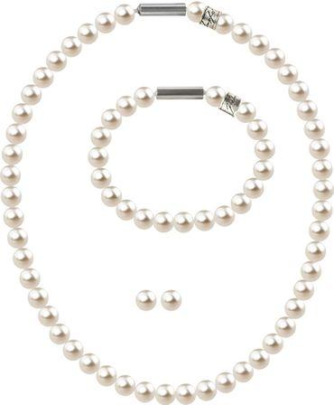 3er Schmuckset Perlenkette Medium mit original Swarovski ® Perlen 8mm – Bild 1