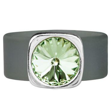 Kautschuk-Ring mit 10mm Swarovski® Rivoli in Metall gefasst – Bild 1