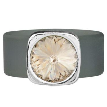 Kautschuk-Ring mit 10mm Swarovski® Rivoli in Metall gefasst – Bild 3