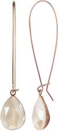 Loop Tropfenohrhänger an Metallschlaufe mit Swarovski-Tropfenstein 14 x 10 mm rosé vergoldet – Bild 1