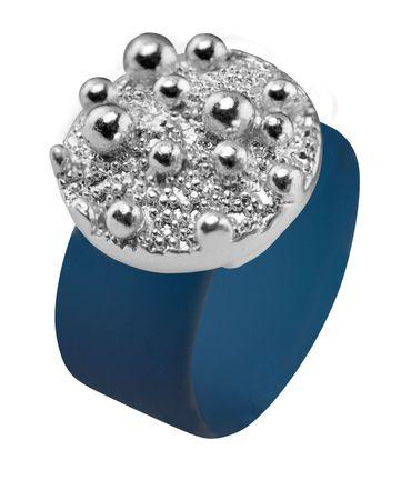 Ring Sparkling Bubbles aus farbigem Kautschuk mit Zinnguss, rhodiniert – Bild 8