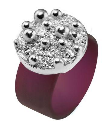 Ring Sparkling Bubbles aus farbigem Kautschuk mit Zinnguss, rhodiniert – Bild 4