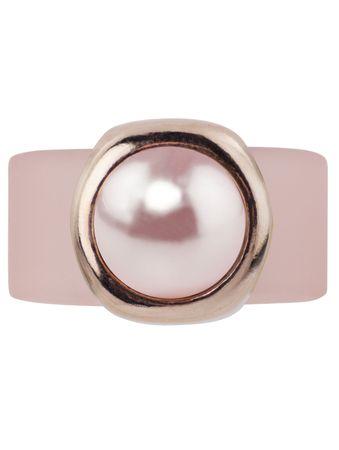 Pearly Bulg Kautschukring mit Swarovski®-Cabochon-Pearl, Fassung rosé vergoldet – Bild 4