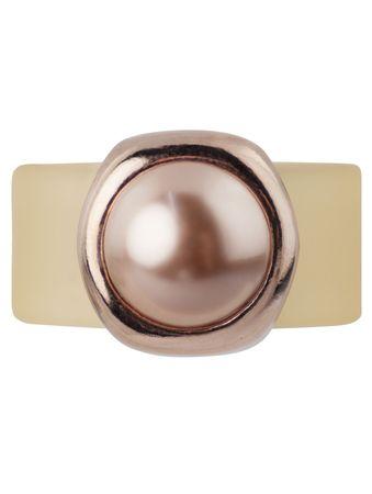 Pearly Bulg Kautschukring mit Swarovski®-Cabochon-Pearl, Fassung rosé vergoldet – Bild 8